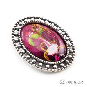 Broche La Flamant Rose argentée profil Emilie Fiala