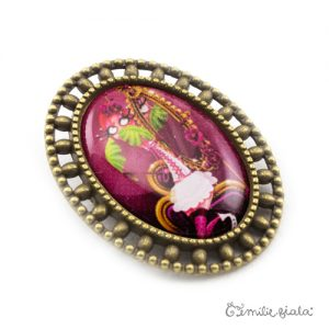 Broche La Flamant Rose bronze antique profil Emilie Fiala