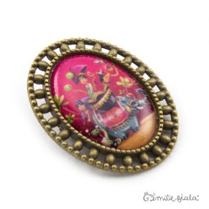 Broche Sur la Route des Indes bronze antique profil Emilie Fiala