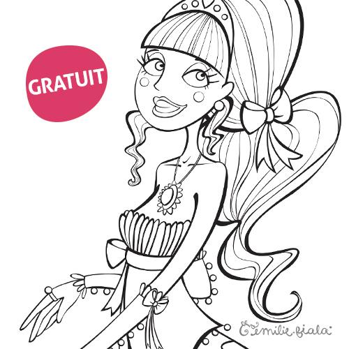 Coloriage Lizette Blondienette Cadeau gratuit boutique Emilie Fiala
