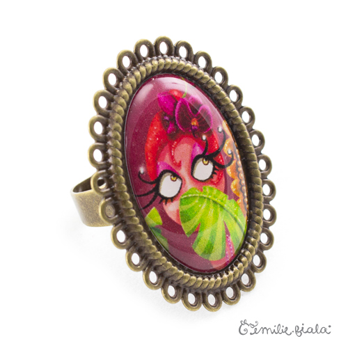 Grande bague La Pin-Up au Palmier bronze antique Profil Emilie Fiala