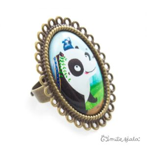 Grande bague Le Panda bronze antique Profil Emilie Fiala