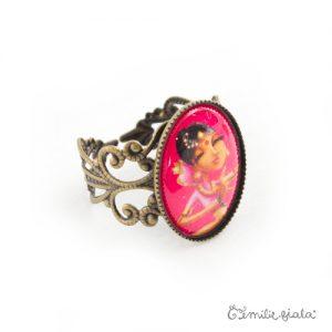 Petite bague L'Indienne bronze antique profil Emilie Fiala