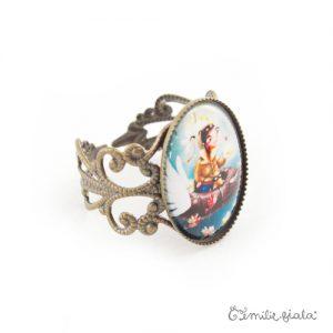 Petite bague Le Pêcheur d'Étoiles bronze antique profil Emilie Fiala