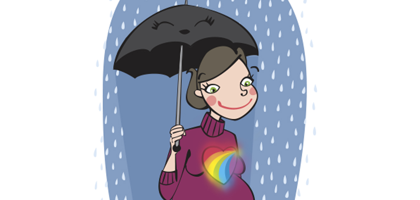 Meteo coeur parapluie enceinte pluie soleil Emilie Fiala