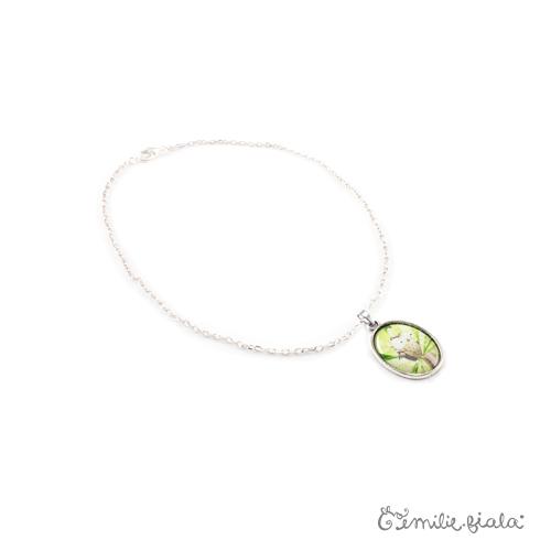 Grand collier simple La Chouette argenté profil Emilie Fiala