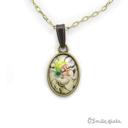 Petit pendentif simple Tea Time bronze antique zoom Emilie Fiala