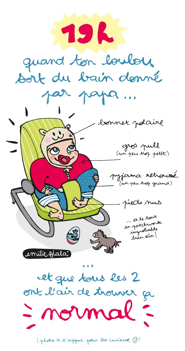 Bain bebe papa routine mode Emilie Fiala