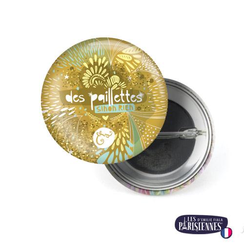 Badge-37mm-Les-Parisiennes-Paillettes-Emilie-FIALA
