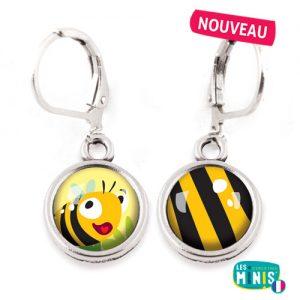 Dormeuses-Les-Minis-Abeille-Rayures-bijoux-enfants-cadeau