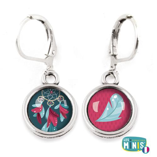 Dormeuses-Les-Minis-Attrape-reves-plume-bijoux-enfants-cadeau