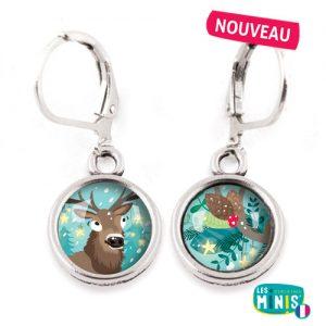 Dormeuses-Les-Minis-Cerf-Vegetal-bijoux-enfants-cadeau