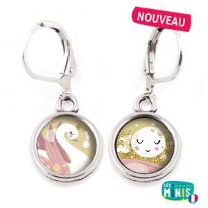 Dormeuses-Les-Minis-Cygne-Lune-bijoux-enfants-cadeau