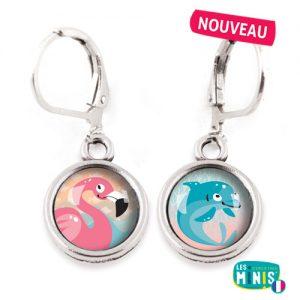 Dormeuses-Les-Minis-Flamant-Rose-Dauphin-bijoux-enfants-cadeau