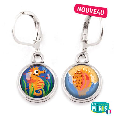 Dormeuses-Les-Minis-Hippocampe-Coquillage-bijoux-enfants-cadeau
