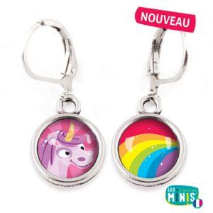 Dormeuses-Les-Minis-Licorne-Arc-en-ciel-bijoux-enfants-cadeau