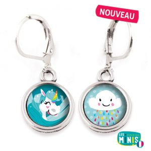 Dormeuses-Les-Minis-Licorne-bleu-nuage-bijoux-enfants-cadeau