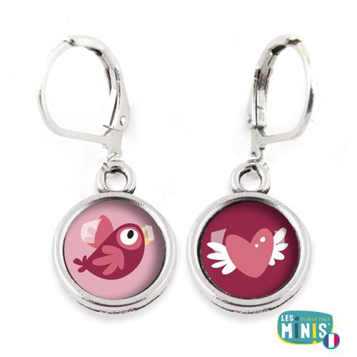 Dormeuses-Les-Minis-Oiseau-Coeur-Aile-bijoux-enfants-cadeau