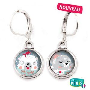 Dormeuses-Les-Minis-Ours-Polaire-Phoque-bijoux-enfants-cadeau