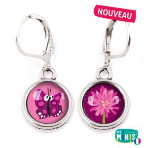 Dormeuses-Les-Minis-Papillon-Fleur-bijoux-enfants-cadeau