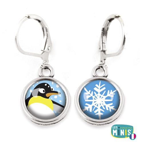 Dormeuses-Les-Minis-Pingouin-Flocon-bijoux-enfants-cadeau