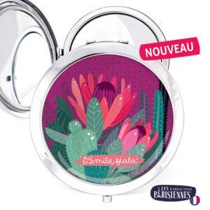 Miroir-Les-Parisiennes-argente-Cactus-accessoire-fleur-botanique