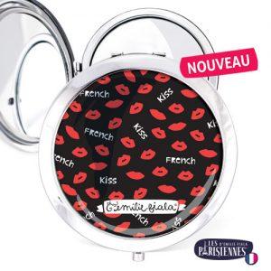 Miroir-Les-Parisiennes-argente-French-Kiss-accessoire-bisou-bouche