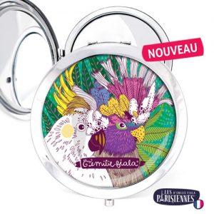 Miroir-Les-Parisiennes-argente-Perroquets-accessoire-oiseaux-volatiles-aras-perruche