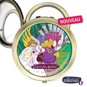 Miroir-Les-Parisiennes-bronze-antique-Perroquets-accessoire-oiseaux-volatiles-aras-perruche