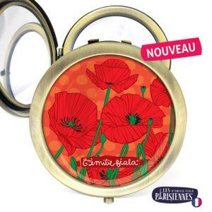 Miroir-Les-Parisiennes-bronze-antique-Poppy-accessoire-coquelicot-rouge